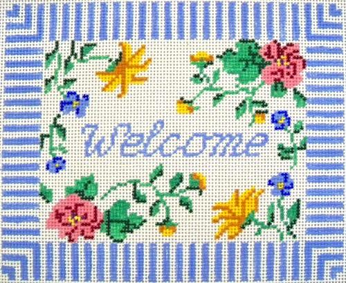 Blue Floral Welcome Painted Canvas Winnetka Stitchery Design