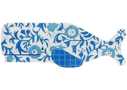 Blue Floral Whale Painted Canvas Melissa Shirley Designs
