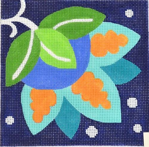 Blue Pinwheel Bud Painted Canvas Vallerie Needlepoint Gallery