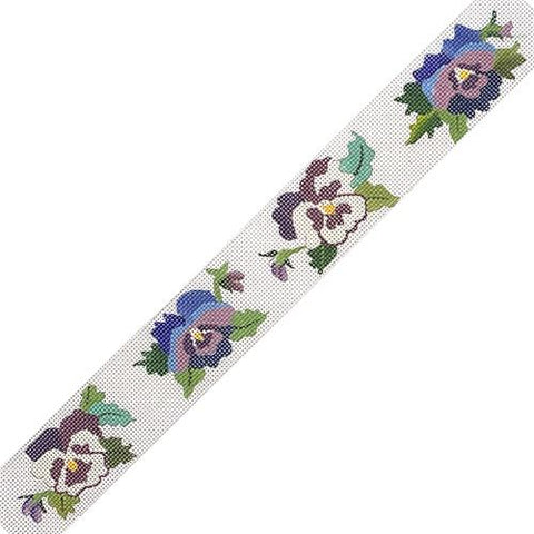 Blue & Purple Pansy Belt Painted Canvas PLD Designs