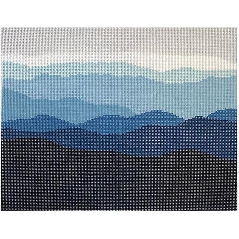Blue Ridge Mountain Range on 13 Painted Canvas Blue Ridge Stitchery
