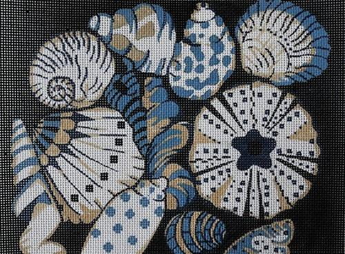 Blue Shells Small Painted Canvas All About Stitching/The Collection Design
