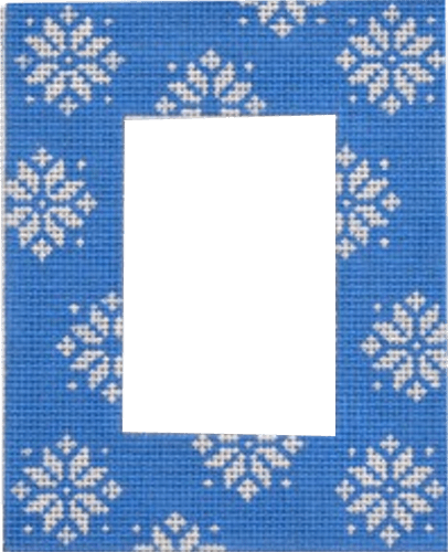 Blue Snowflake Frame Painted Canvas Pepperberry Designs