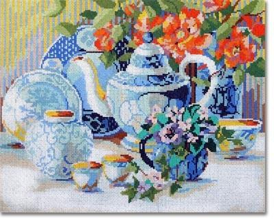 Blue & White Tea Time Painted Canvas CBK Needlepoint Collections
