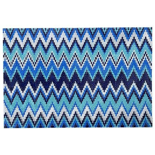 Blue ZigZag Clutch Painted Canvas Anne Fisher Needlepoint LLC