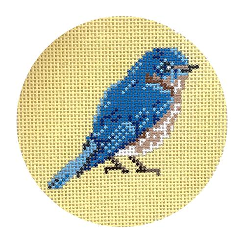 Bluebird on Yellow Painted Canvas Blue Ridge Stitchery