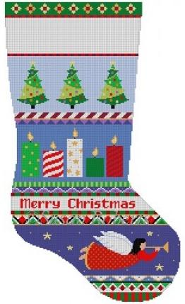 Bold Stripe Candles Stocking Painted Canvas Susan Roberts Needlepoint Designs Inc.