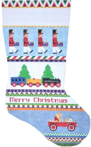 Bold Stripe Drummers and Train Painted Canvas Susan Roberts Needlepoint Designs, Inc.