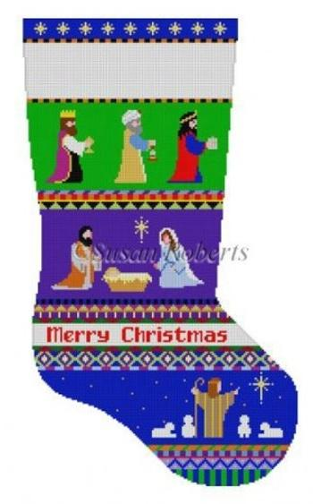 Bold Stripe Nativity Stocking Painted Canvas Susan Roberts Needlepoint Designs, Inc.