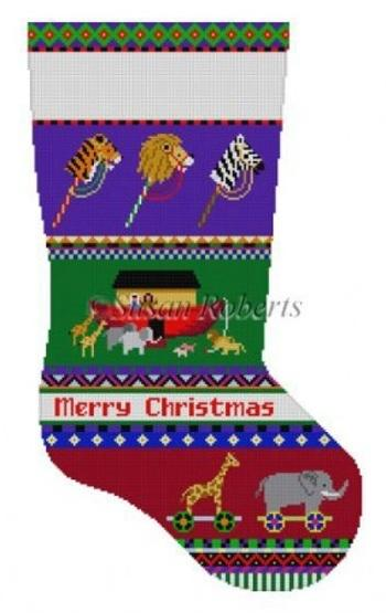Bold Stripe Noah's Ark Stocking Painted Canvas Susan Roberts Needlepoint Designs, Inc.