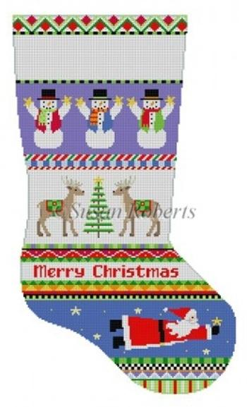 Bold Stripe Reindeer with Flying Santa Stocking Painted Canvas Susan Roberts Needlepoint Designs, Inc.