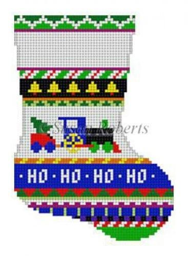 Bold Stripe Train Mini Stocking Painted Canvas Susan Roberts Needlepoint Designs, Inc.