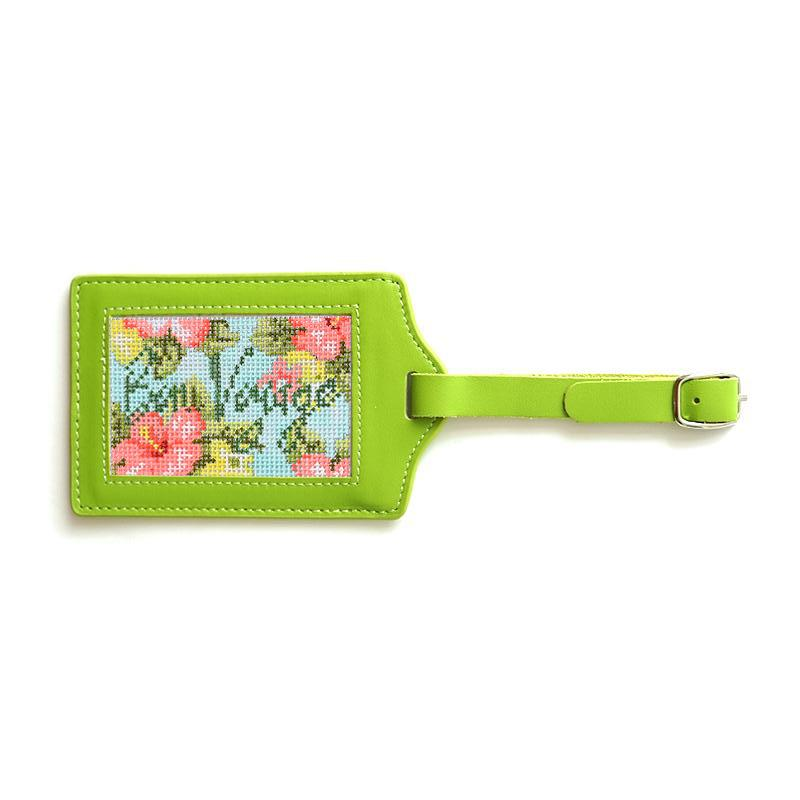 Bon Voyage Hibiscus with Luggage Tag Painted Canvas Needlepoint.Com Green