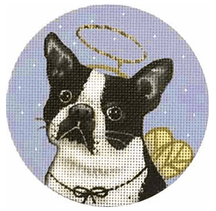 Boston Terrier Ornament Painted Canvas Mary Lake Thompson