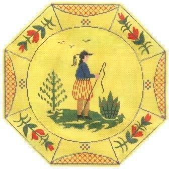 Boy Quimper Plate Painted Canvas Cooper Oaks Design
