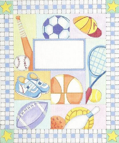 Boy Sports Birth Announcement Painted Canvas Alice Peterson