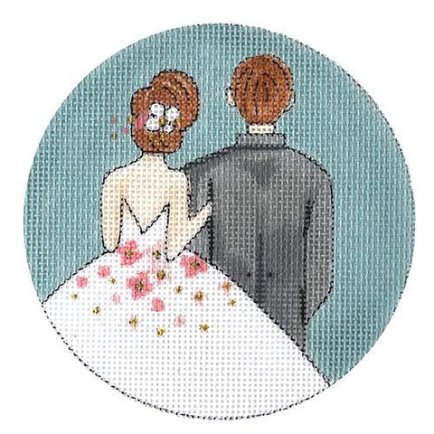 Bride and Groom Departing Painted Canvas Alice Peterson Company