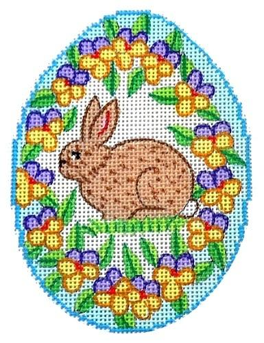 Brown Bunny Egg Painted Canvas Alexa Needlepoint Designs