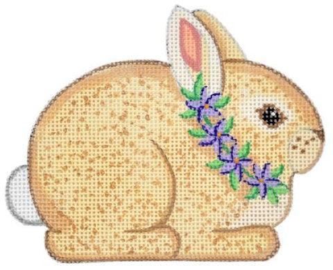 Brown Bunny with Purple Flowers Painted Canvas Alexa Needlepoint Designs