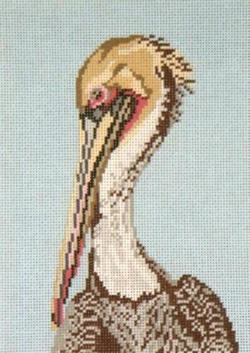 Brown Pelican Head on 18 Painted Canvas Needle Crossings