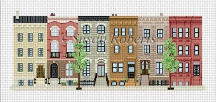 Brownstones Painted Canvas Susan Roberts Needlepoint Designs, Inc.