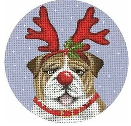 Bulldog Ornament Painted Canvas Mary Lake Thompson