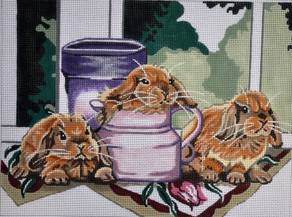 Bunnies at Windowsill Painted Canvas Julie Mar Needlepoint Designs
