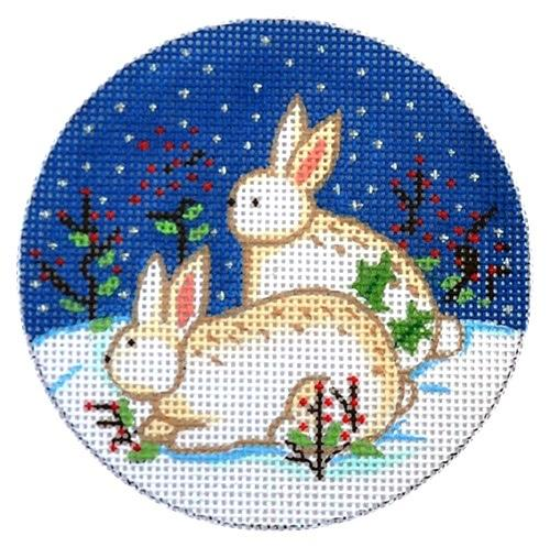 Bunnies on Snow Round Painted Canvas Alexa Needlepoint Designs