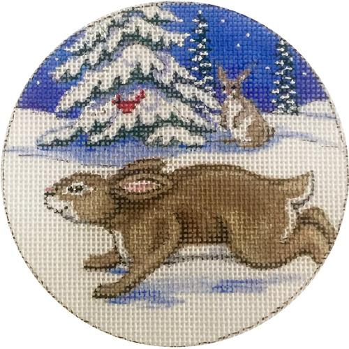 Bunnies Ornament Painted Canvas Alice Peterson