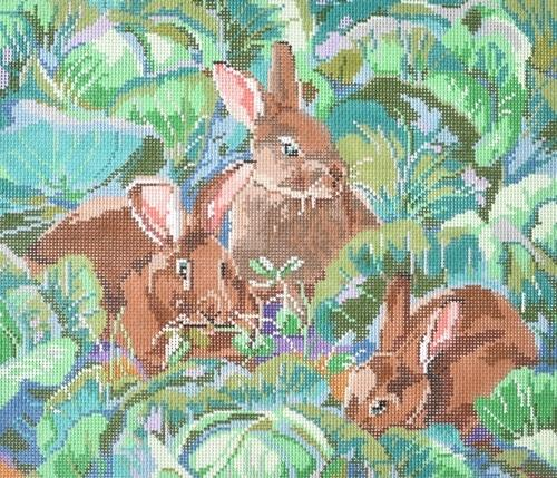 Bunnies Painted Canvas CBK Needlepoint Collections