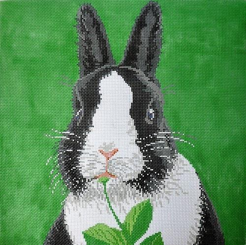 Bunny - Black and White Painted Canvas The Meredith Collection