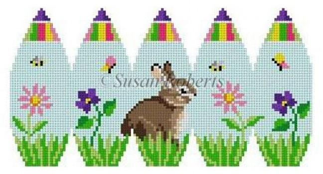 Bunny in Flowers Painted Canvas Susan Roberts Needlepoint Designs, Inc.
