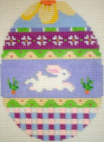 Bunny Over Plaid Egg Painted Canvas Susan Roberts Needlepoint Designs, Inc.