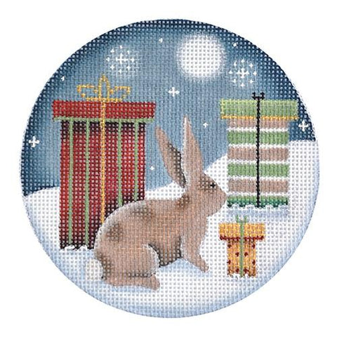 Bunny Presents Ornament Painted Canvas Rebecca Wood Designs