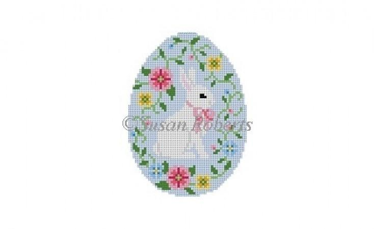 Bunny with Flower Vine Egg Painted Canvas Susan Roberts Needlepoint Designs Inc.