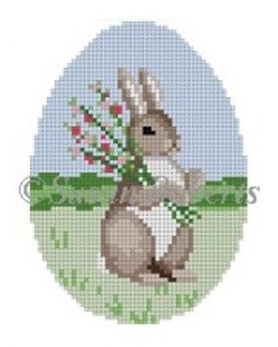 Bunny with Flowers Egg Painted Canvas Susan Roberts Needlepoint Designs, Inc.