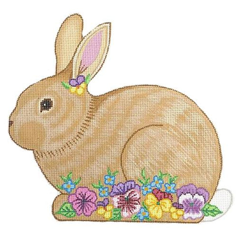Bunny with Pink and Purple Flowers Painted Canvas Alexa Needlepoint Designs