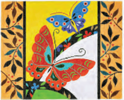 Butterflies Border Painted Canvas Lee's Needle Art Inc.