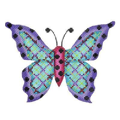 Butterfly - Blue Plaid with Purple Edges & Black Dots Painted Canvas Burnett & Bradley