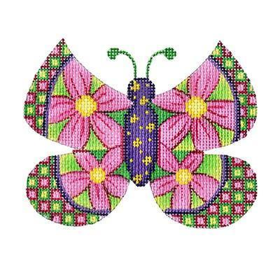 Butterfly - Large Pink Flowers with Green & Pink Checked Edges Painted Canvas Burnett & Bradley