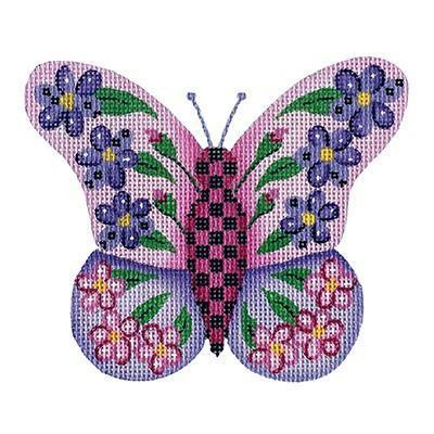 Butterfly - Pink & Purple with Purple & Pink Flowers Painted Canvas Burnett & Bradley