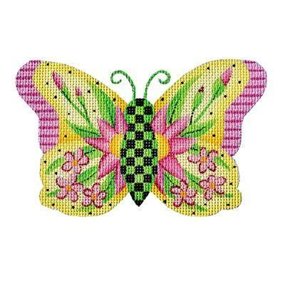 Butterfly - Yellow with Pink Flowers Painted Canvas Burnett & Bradley