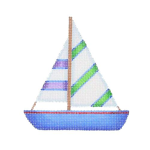 By the Sea - Blue, Green & Purple Sailboat Painted Canvas Burnett & Bradley