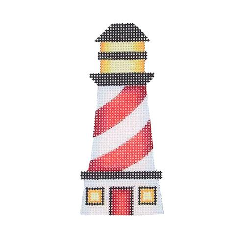 By the Sea - Lighthouse with Red & White Stripes Painted Canvas Burnett & Bradley