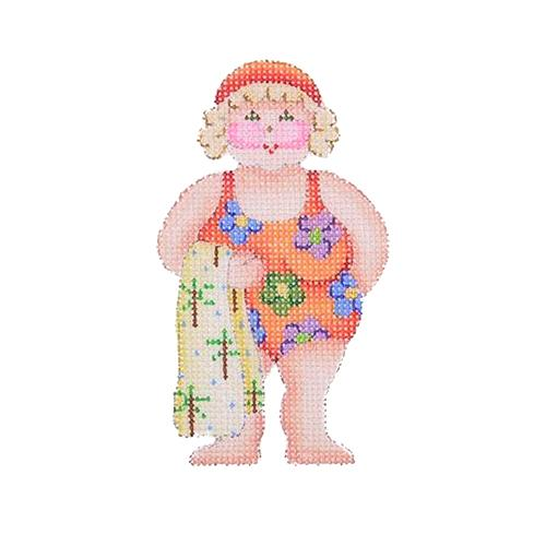 By the Sea - Suzie the Beach Babe in Flower Swimsuit Painted Canvas Burnett & Bradley