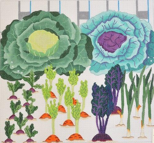 Cabbages and Carrots Painted Canvas Fleur de Paris