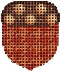 Camel / Brown Dot Cap Acorn Painted Canvas Associated Talents