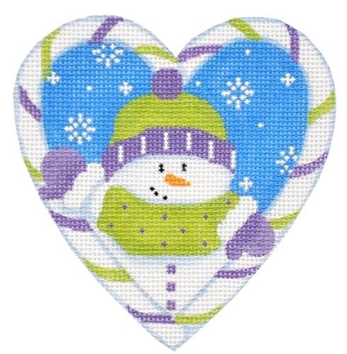 Candy Cane Heart, Snowman Painted Canvas Pepperberry Designs