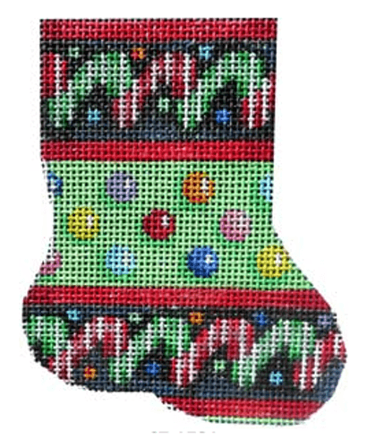 Candy Canes / Dots Mini Sock on 14 Painted Canvas Associated Talents