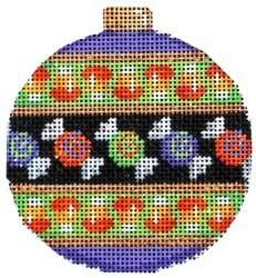 Candy Stripe Ball Ornament Painted Canvas Associated Talents